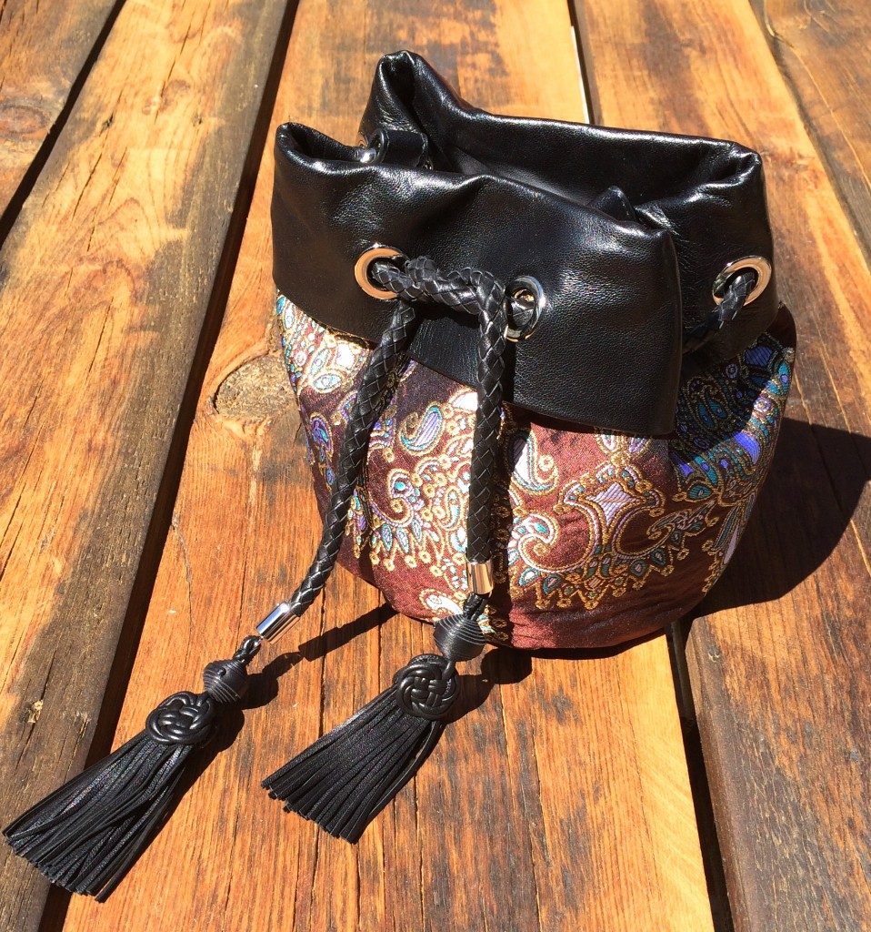 Alessandra Rich Paisley Quilted Jacquard & Leather Jewelry Bag