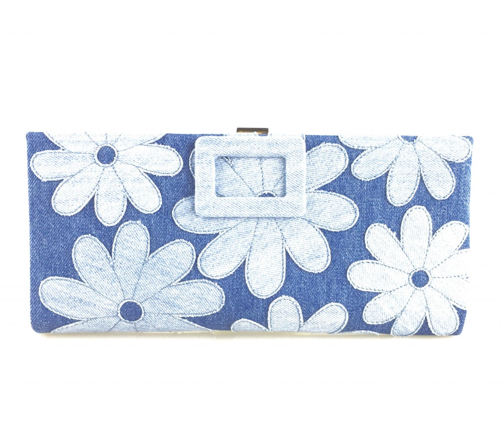 Roger Vivier Denim Daisies Clutch