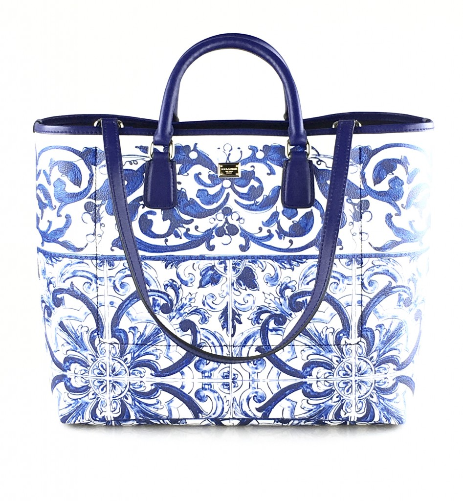 Dolce & Gabbana Blue & White Printed Shopper