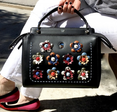 Fendi fashion show dotcom bag with studded leather flowers