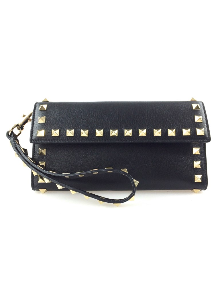 Valentino Rockstud Black Leather Clutch