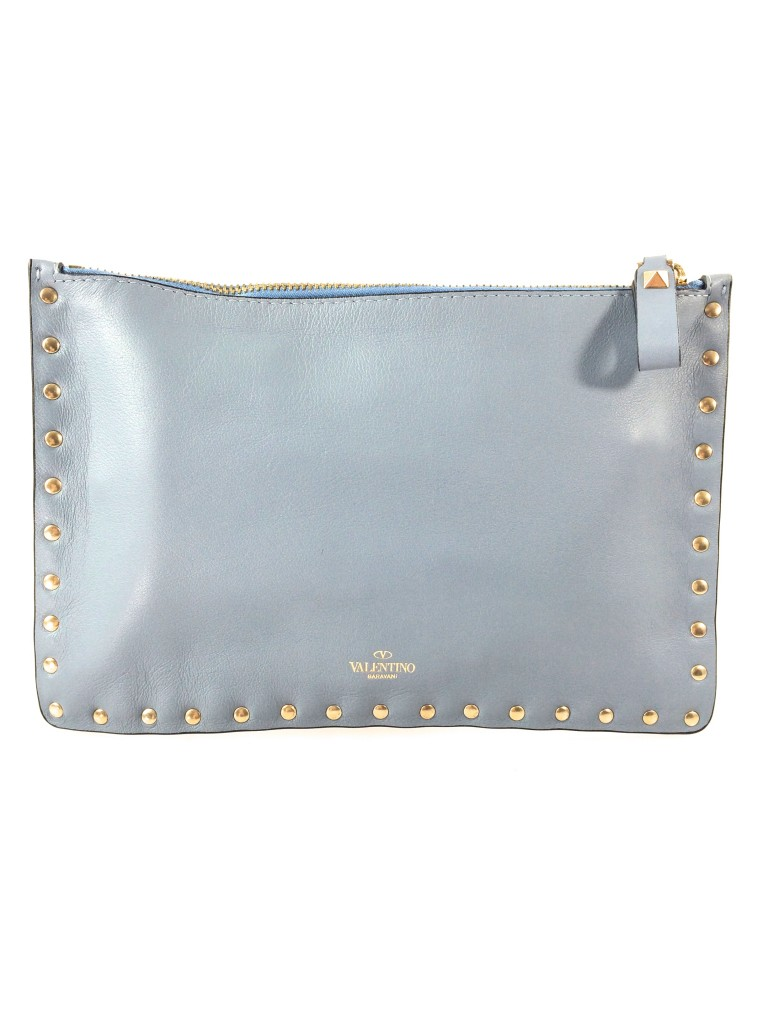 Valentino Rockstud Blue-Gray Clutch