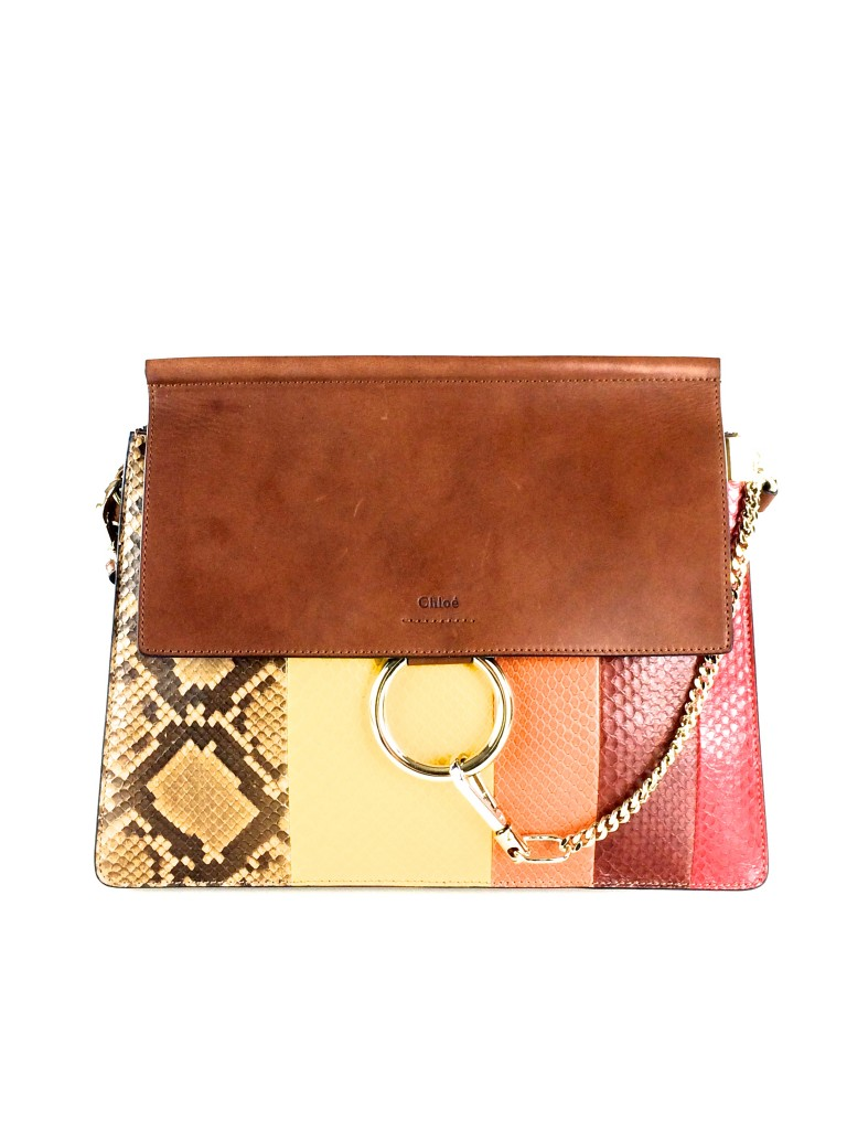 Chloe Faye Python Striped Shoulder Bag