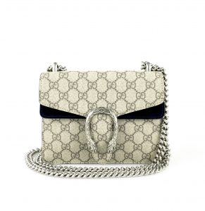 Gucci Dionysus Mini GG Canvas & Black Suede Shoulder Bag